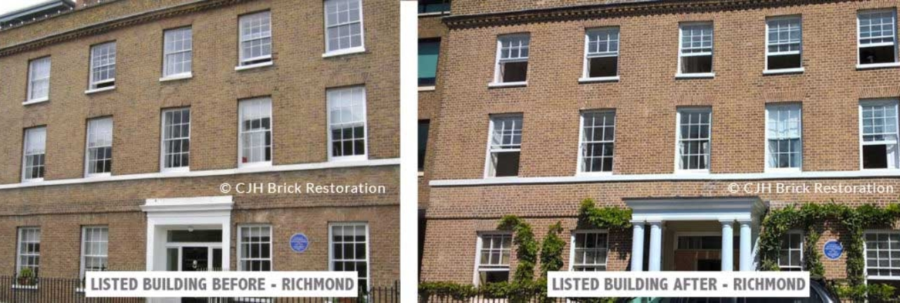 Listed-building-restored-by-CJH-Brick-Restoration-of-Paradise-Road,-Richmond,-London,-Virginia-and-Leonard-Woolf-who-founded-the-Hogarth